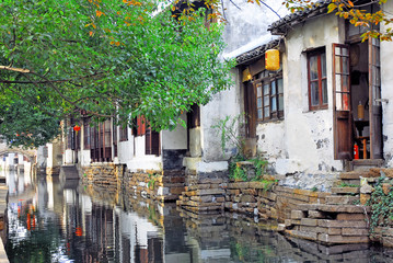 Zhouzhuang, Old houses reflection in a village canal.