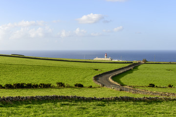 Lighthouse of Ponta Delgada on Flores island (Azores, Portugal)