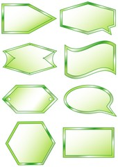 Set of green labels for your text, vector format
