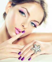 Beautiful model with pink makeup.