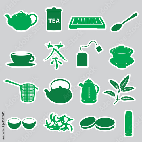 tea stickers set eps10