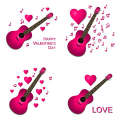 Collection of pink guitars with hearts illustrations