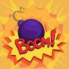 cartoon style explosion, bomb