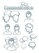 set of hand drawn icons, communication
