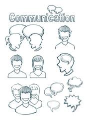 set of hand drawn icons, communication