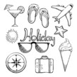 Holiday icon set, vector illustration