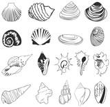 Set of silhouette shell icons