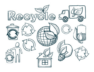 set of hand drawn icons, recycle