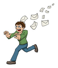Man being chased by spam mail