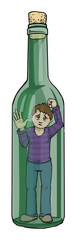 lcoholism, concept illustration with man trapped i a vine bottle