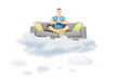 Guy meditating on a sofa and floating on a cloud