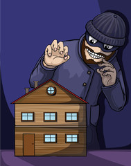 Thief about to rob a property/house