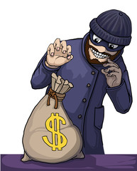 Thief about to steal a bag of money isolated on white