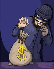Thief about to steal a bag of money