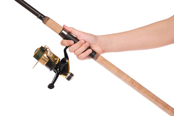 fishing rod, reel in hand