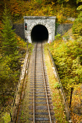 Old brick tunnel in the mountains in autumn