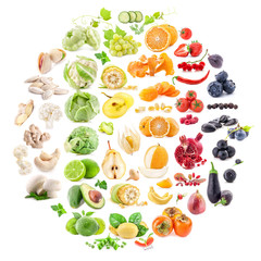 Big Collection of fruits and vegetables isolated on white