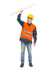 Construction worker holding rolled paper plan.