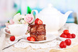 Chocolate cake with strawberry
