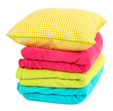 Colorful plaids and pillow isolated on white