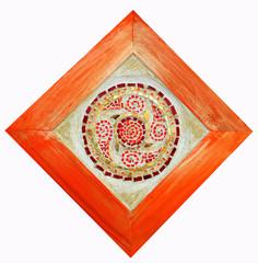 Orange  mandala on white background