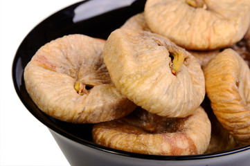 Dried figs in black plate