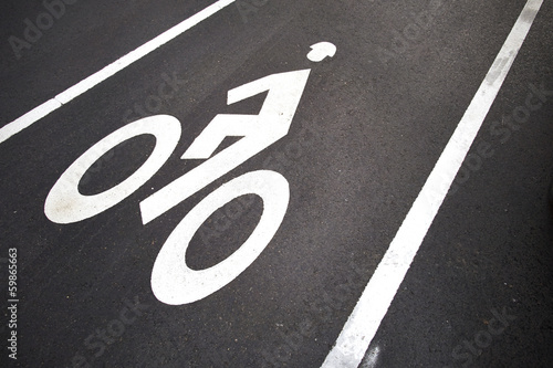 Bicycle lane White mark of bicycle