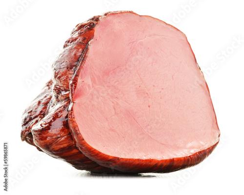 Piece of fresh ham isolated on white