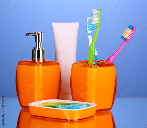 Bathroom set on blue background