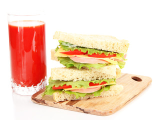 Fresh and tasty sandwiches on cutting board isolated on white