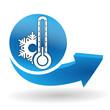 thermomètre froid sur bouton web bleu