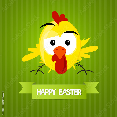 Green Vector Easter Background with Yellow Funny Chicken
