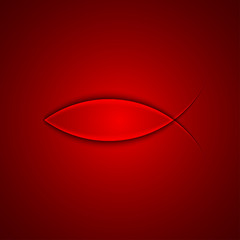 Vector christian fish simbol on red background. Eps10