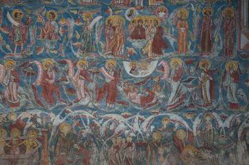 Moldovita Monastery painted wall, Bucovina, Romania