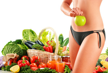 Dieting. Balanced diet based on raw organic vegetables