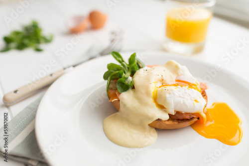 Keuken foto achterwand Egg Poached eggs royale with salmon and sauce hollandaise