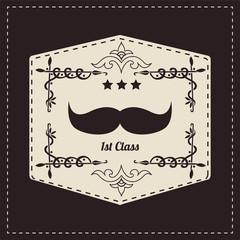 Hipster vintage retro mustache, vector