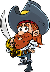 Cute cartoon pirate with a cutlass