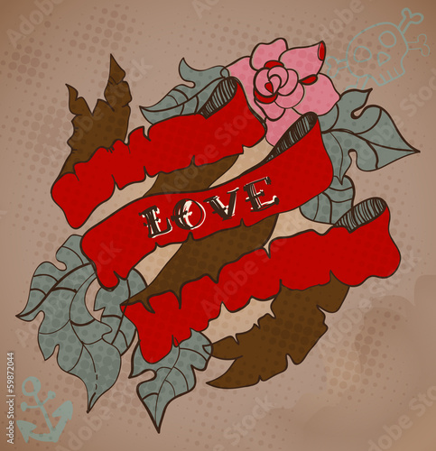 Old-school style tattoo card with flowers and ribbon, Valentine