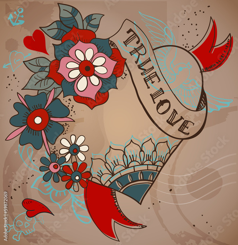 Old-school style tattoo heart with flowers, Valentine illustrati