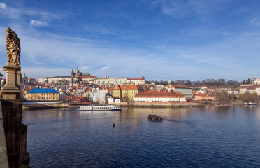 View of Prague castle from Charles bridge, Czech Republic