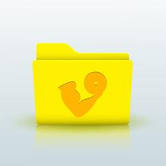 Vector yellow folder on blue background. Eps10