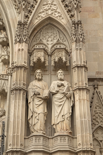 Close-up view of medieval statues (Barcelona)