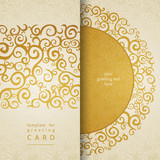 Vintage invitation cards with lace gold ornament. Golden curls.