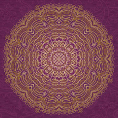 Ornamental round lace pattern. Background with many details.