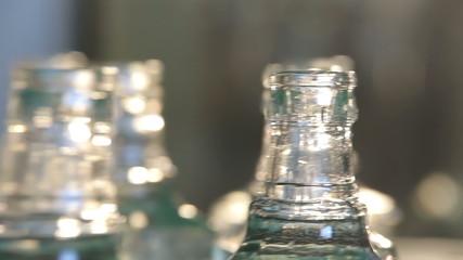 Vodka Bottling Process. Close-up
