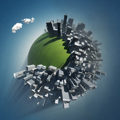 city occupies green planet