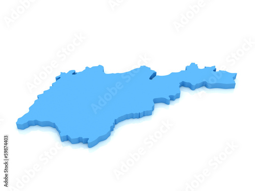3d map of Armenia with high-resolution on  white background