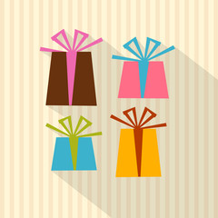 Retro Present Boxes, Gift Boxes on Cardboard Paper Background