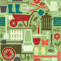 Retro gardening related seamless pattern background